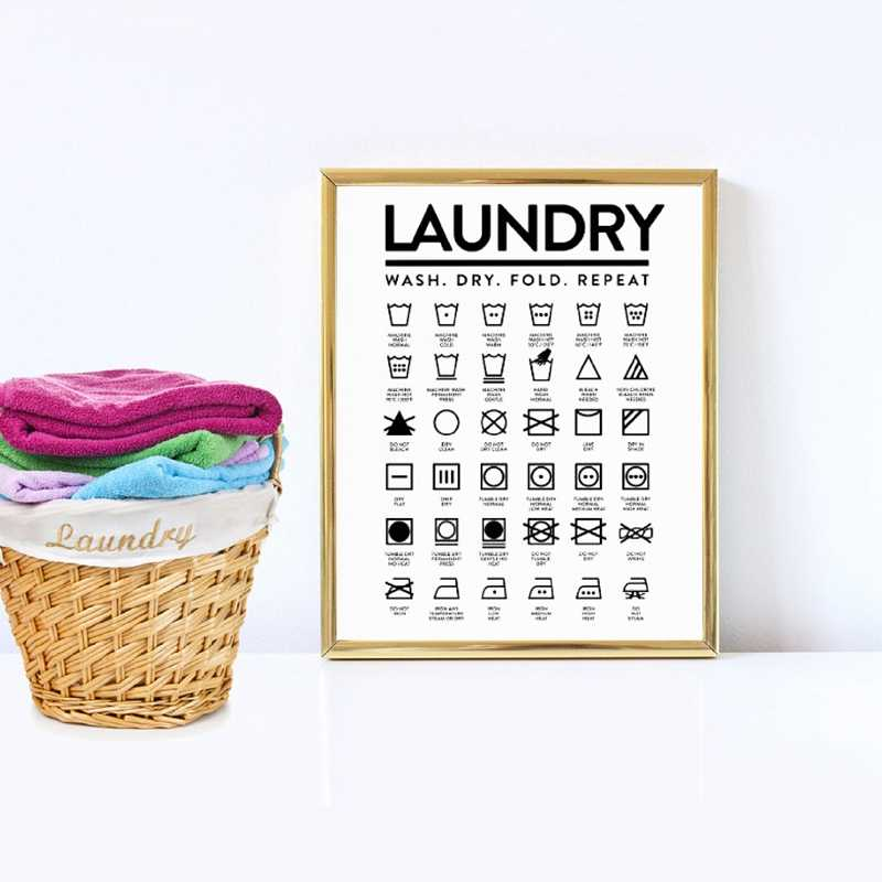 Laundry Room Wall Decor Laundry Room Signs Canvas Prints and Poster Laundry Icons Art Painting Picture Modern Wall Decoration
