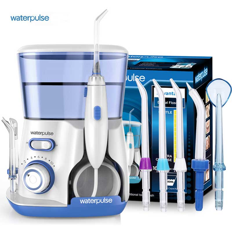 Waterpulse V300 Oral Irrigator Dental Water Flosser 800ml Oral Hygiene Water Flossing 5pcs Nozzles