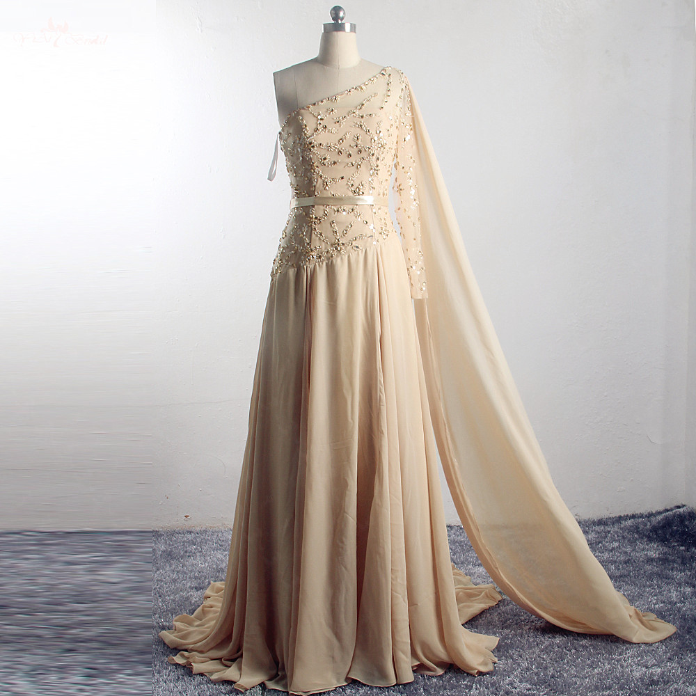 RSE905 One Shoulder Long Shawl Champagne Evening Chiffon   Prom     Dress