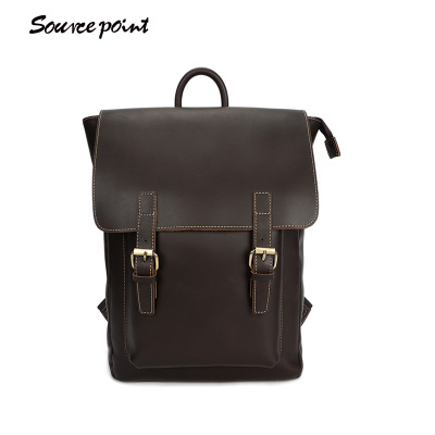 YISHEN Fashion Vintage Men's Backpack Crazy Horse Genuine Leather Travel Backpack Large Capacity 14 Inch Laptop Case YD-01183#