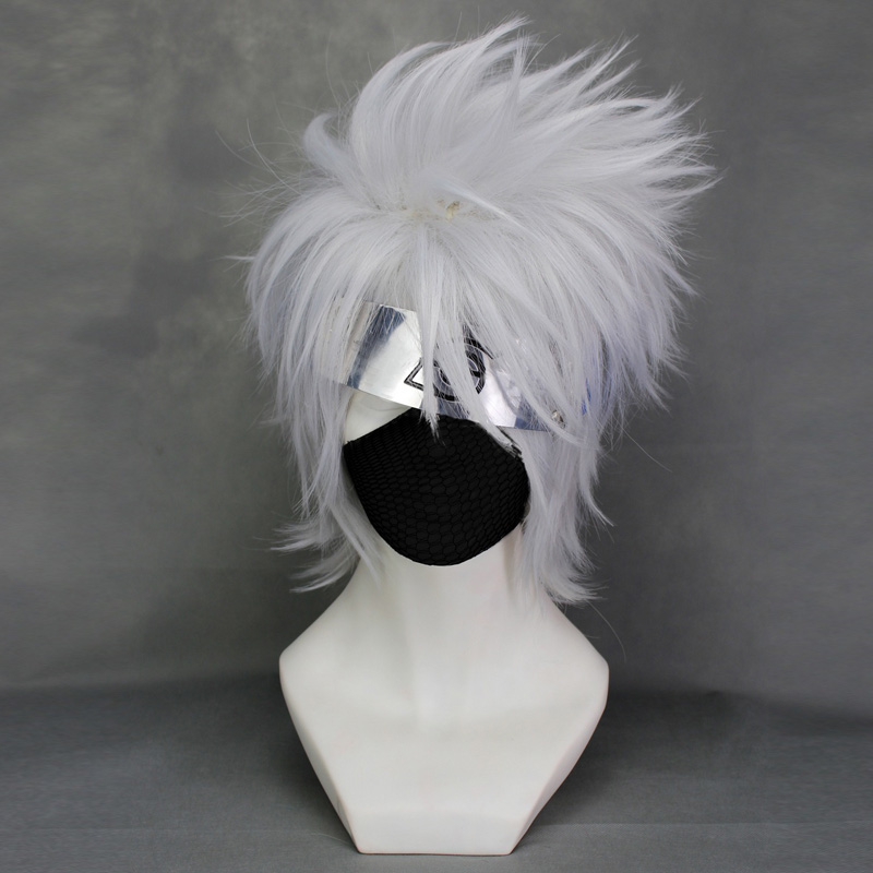 Top Quality Hatake Kakashi Silver White Short Shaggy Layered Cosplay Anime Wig Only + Free Wig Cap