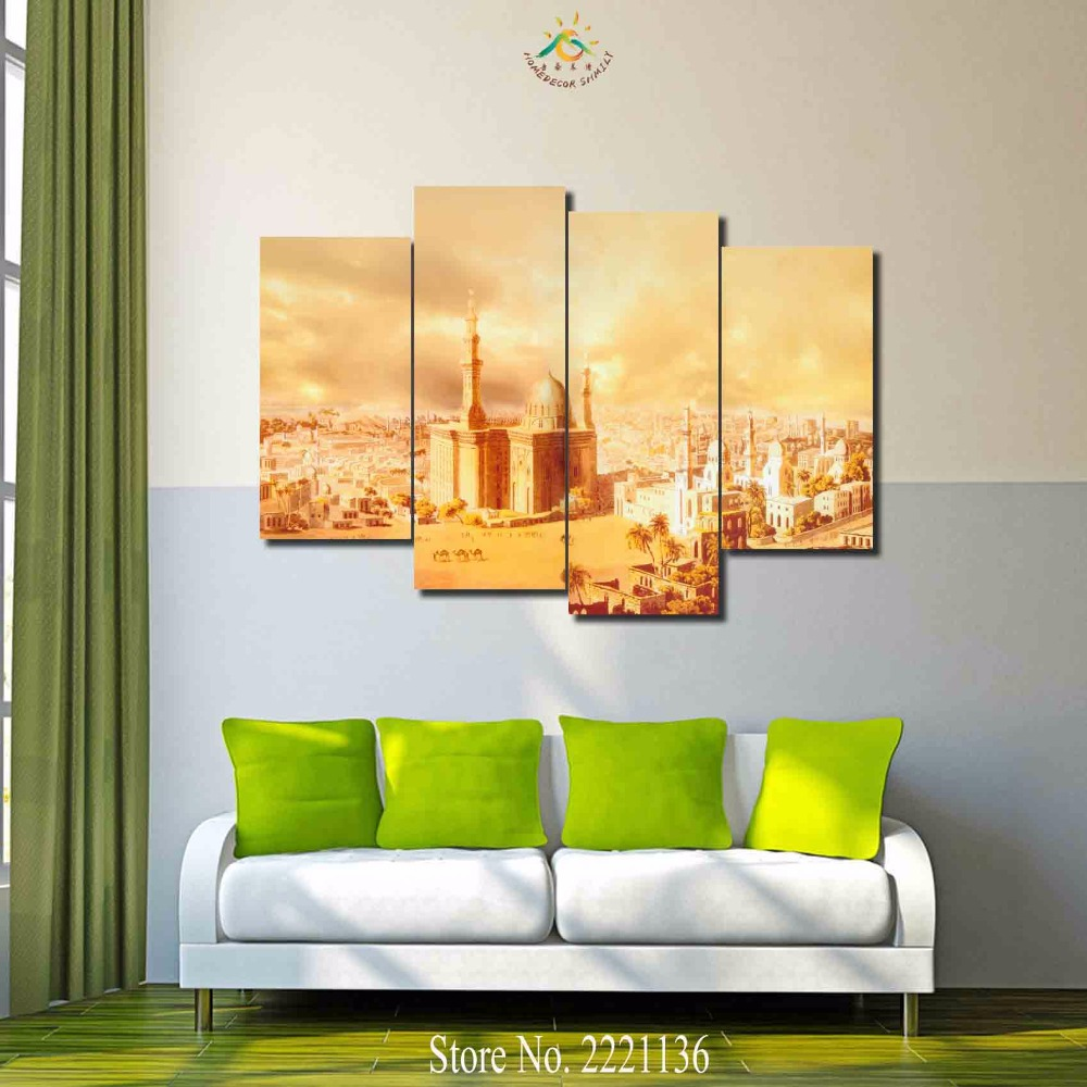 3 4 5 panels/set Golden Religious Building Modern Home Wall Decor ...