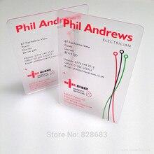 85x54 мм 0,36 мм визитница создание визитных карточек Печать Прозрачная ПВХ матовая односторонняя печать