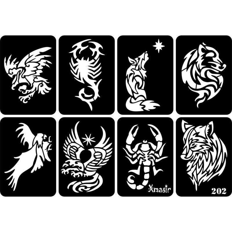 New 30pcs/lot Glitter Tattoo Stencil Drawing For Man Body Painting,Dragon Skull Wolf Eagle Airbrush Tattoo Stencils Templates
