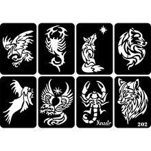 New 32pcs/lot Glitter Tattoo Stencil Drawing For Man Body Painting,Dragon Skull Wolf Eagle Airbrush Tattoo Stencils Templates
