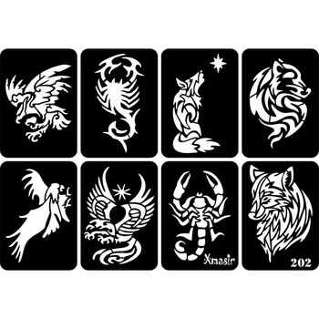 Nowy 30 sztuk partia tatuaż brokatowy wzornik rysunek dla człowieka malowanie ciała smok czaszka wilk Eagle Airbrush tatuaż szablony szablony tanie i dobre opinie xmasir Tattoo stencil Glitter Tattoo Stencil template Glitte tattoo stencil airbrush Glitter tattoo stencil for hot Sexy man tattoo stencil
