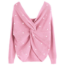 Pearl Beading V Neck Twist Sweater Cute Pink Color Women Pullovers Knit  Jumper Long Sleeves Casual Pull femme Crop tops 35345d10a