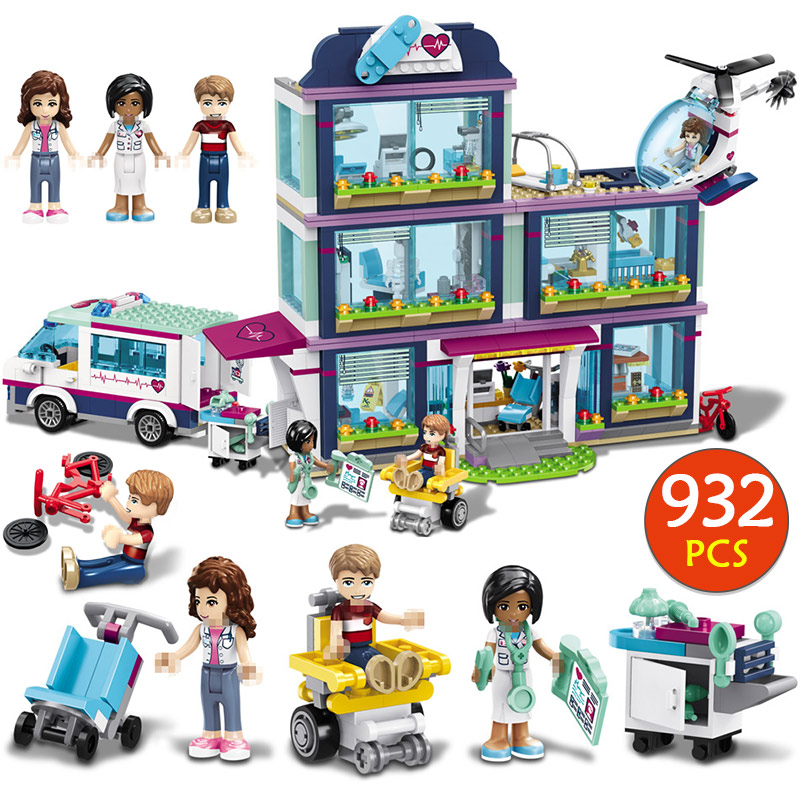 New 932 PCS Heartlake City Park Love Hospital Girl Friends Building Block Compatible LegoINGly Friends Brick Toy For Girls