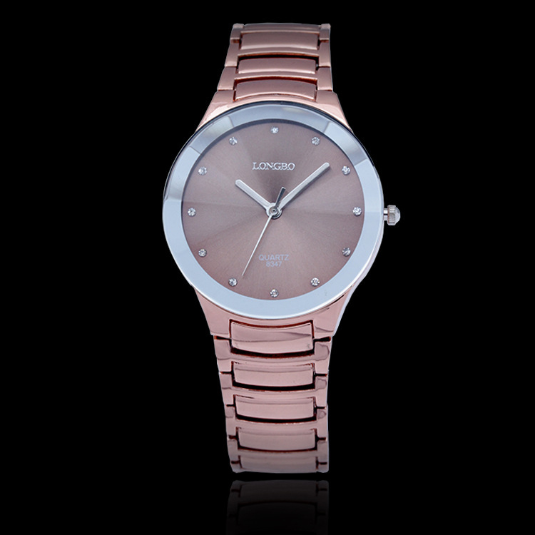 100% Top Quality Brand Longbo Luxury Quartz Watch For Women Dress Watches Rose Gold Stainless Steel Rhinestone Ladies Watches