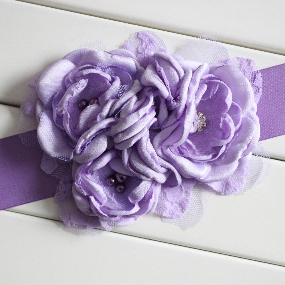Hart Arbeitend Lila Rosa Himmel Blau Kinder Gürtel Mädchen Satin Strass Frauen Kinder Blume Gürtel Für Party Hochzeit Kleider Blume Mädchen Schärpe