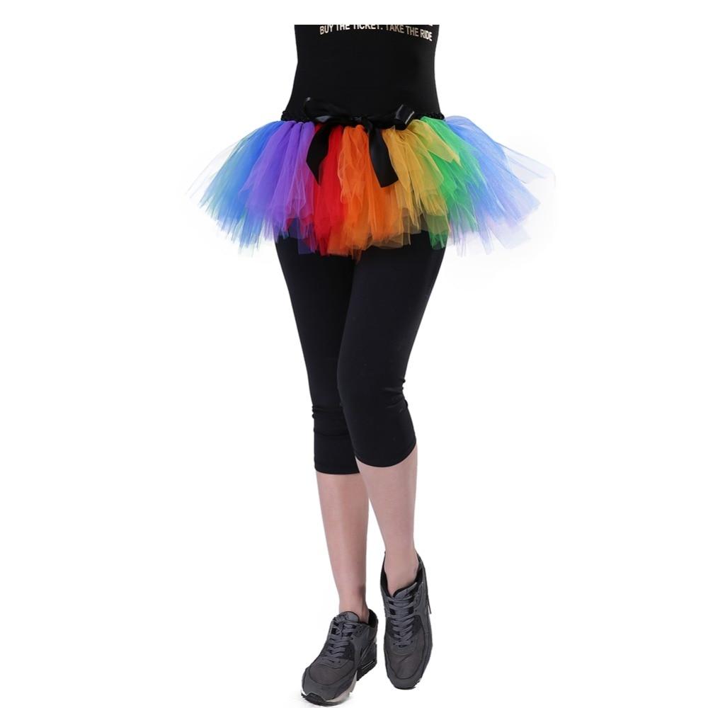 Rainbow Tutu Skirt Adult Ballet Dance Above Knee Mini Skirt Nylon Tulle Mesh Women Maternity Skirt Photography Halloween Costume
