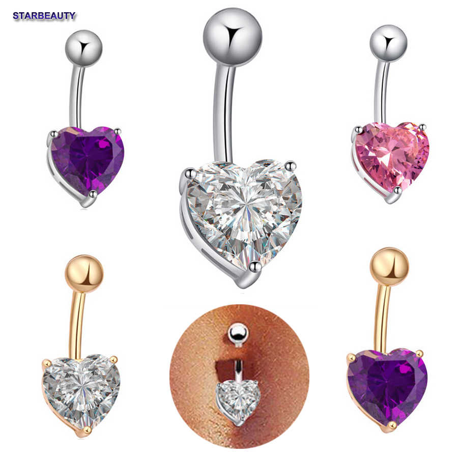 1pc Pink Heart Navel Piercing Nombril Sexy Women Belly Button Rings Navel Piercing Ombligo Aaa Zircon Body Jewelry Pircing Ring
