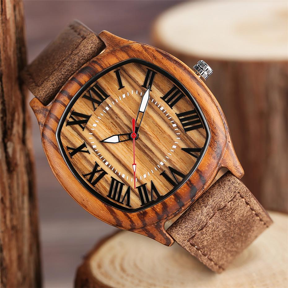 YISUYA Bamboo Wooden Watch Men Quartz Leather Band Analog Creative Watches Roman Numerals Dial Unqiue Shape Fashion Clock Gift (33)