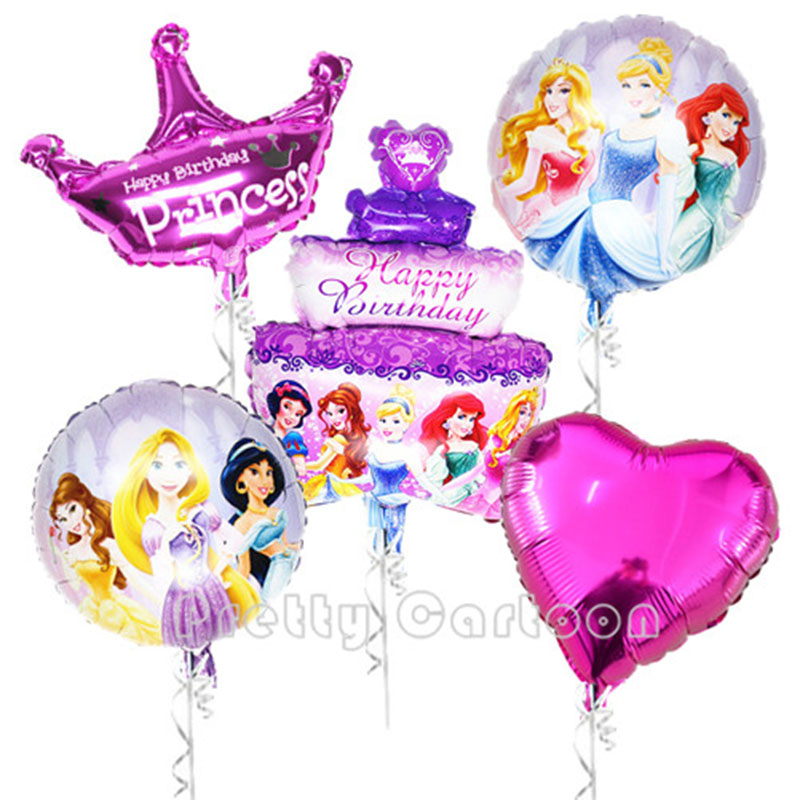 5pcs/lot princess balloon princess birthday party foil ballons inflatable classi