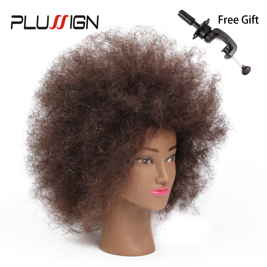Plussign Training Head Human Hair Mannequin Head For Practice Dummy Hairstyles Long Hair Natural Head Training For Hairdresser graceful short side bang fluffy natural wavy capless human hair wig for women