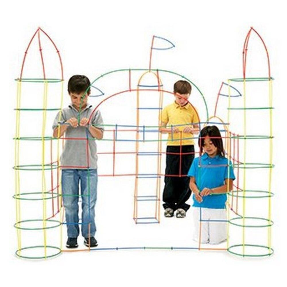 100Pcs Plastic 4D Straw Building Blocks Joint Funny Development Toys Geometric Shape Block For Boys Girls P20