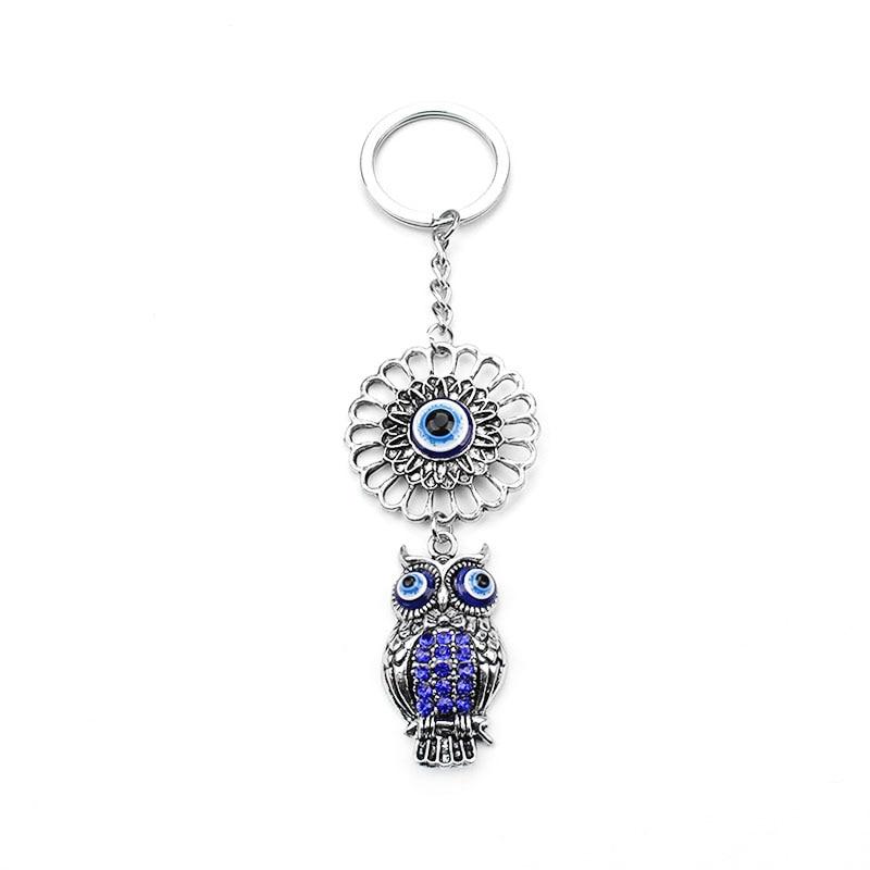 Biru Evil Eye Owl Beruntung Pesona Perlindungan Rumbai Gantungan - Perhiasan fashion - Foto 4