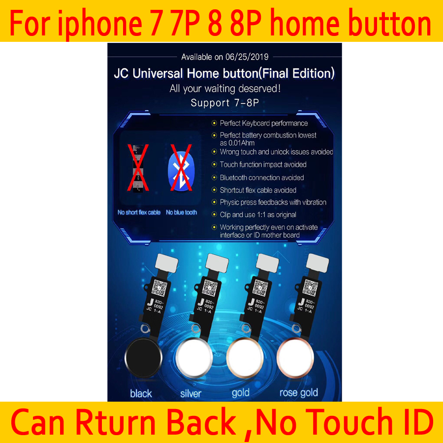 New JC  YF Universal Home Button For Iphone 7/7 Plus/8/8 Plus Return Button Key Only Back Function And Screen Shot No Touch ID