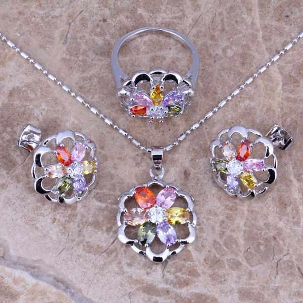 Angelic Multicolorหินชุดเครื่องประดับเงินชุดต่างหูจี้แหวนขนาด 5 / 6 / 7 / 8 / 9 / 10 S0139A