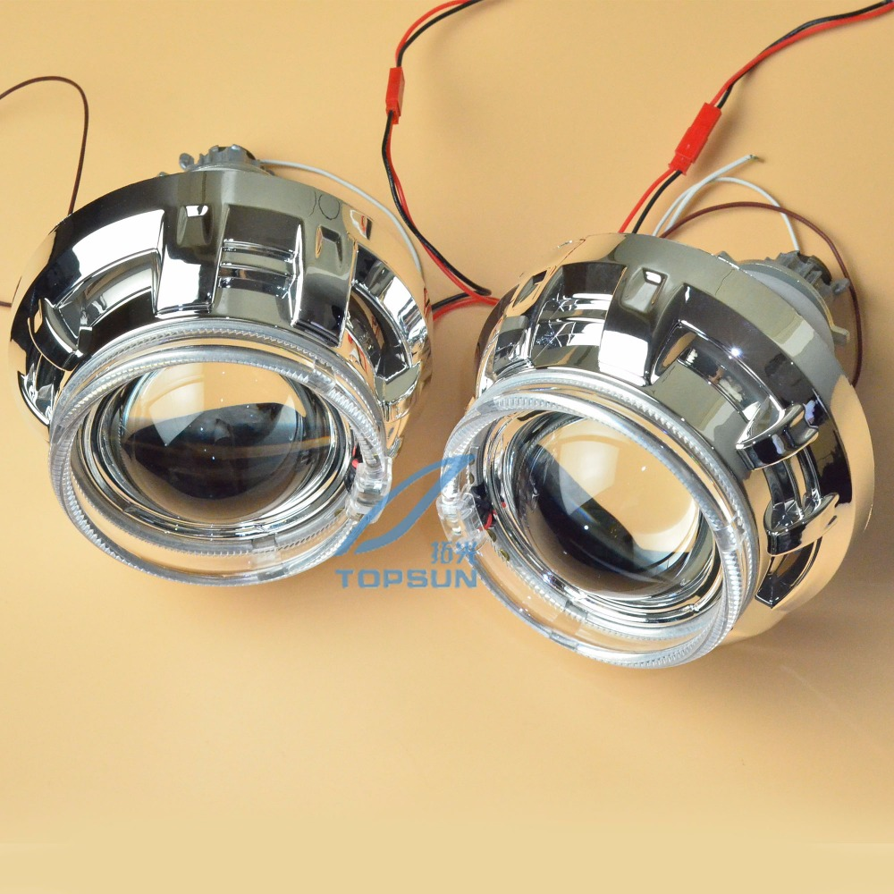 3 Inch WST Bixenon Projector Lens with angel eyes and Shroud fit for Most Cars Headlight Retrofit Kit