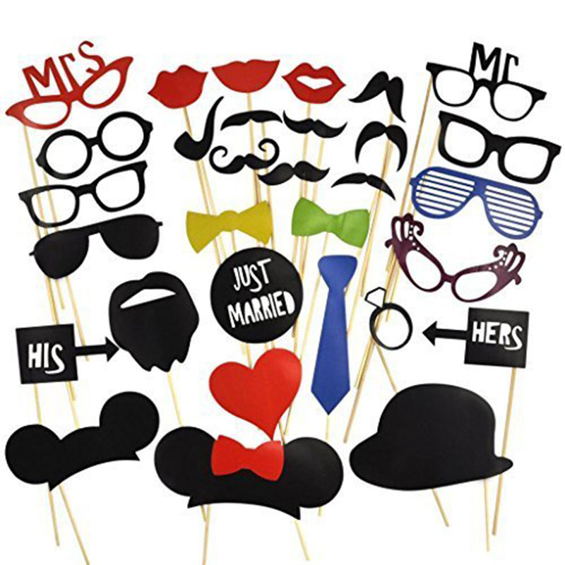 Us 399 31 Pcsset Photo Booth Props On A Stick Mustache Lip Hat Diy Kit Bridal Shower Photobooth Wedding Party Decoration Favors In Photobooth