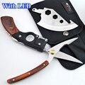 Con LED. 5 En 1 herramientas de mano multifunción portátil de supervivencia Axe + cuchillo + Sierra + pistola de tijeras en forma de mango de madera para caza cuchillo