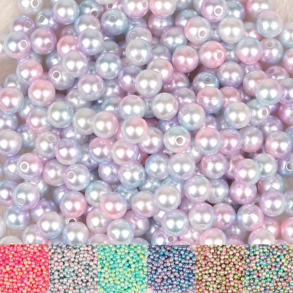 4/6/8/10mm Multi couleurs acrylique rond ABS perles dimitation perles en vrac pour Nail Art décoration bijoux à bricoler soi-même artisanat Scrapbook