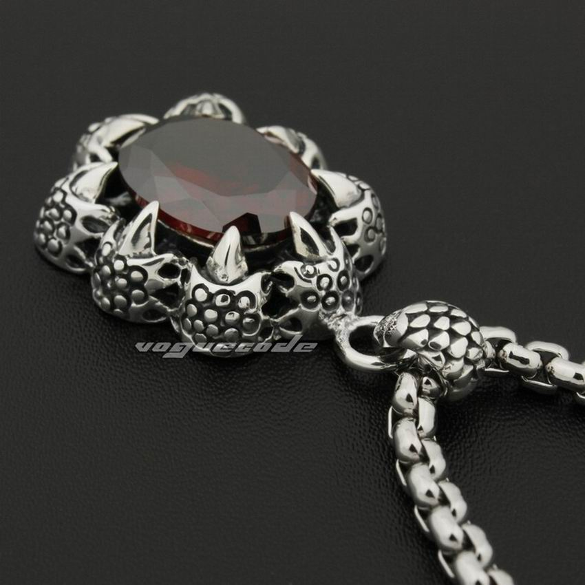 LINSION Huge Red CZ Dragon Claw 925 Sterling Silver Mens Biker Rock Punk Pendant 8P012-in Pendants from Jewelry & Accessories    3