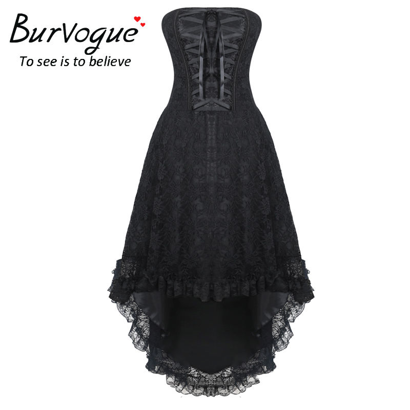 Burvogue Femmes Steampunk Gothique Overbust Corset Robe Avec Zipper Lace Up Bustiers et Corsets Steampunk Corset robe S-4XL