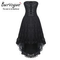 Burvogue Women Steampunk Gothic Overbust Corset Dress With Zipper Lace Up Bustiers & Corsets Steampunk Corset dress S 4XL