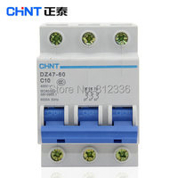 Free Shipping 2 years Warranty DZ47 60 C10 3P 10A 3 pole domestic C type small air switch unipolar Electric shock protection