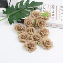 5cm Handmade Jute Hessian Burlap Flowers Rose Wedding Decor