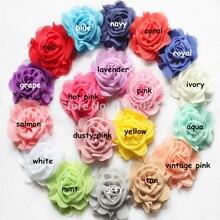 30 шт./лот, 2,5 ''шифоновая Роза Потертый Цветы, шифоновый цветок Потертый аксессуары для волос модные аксессуары