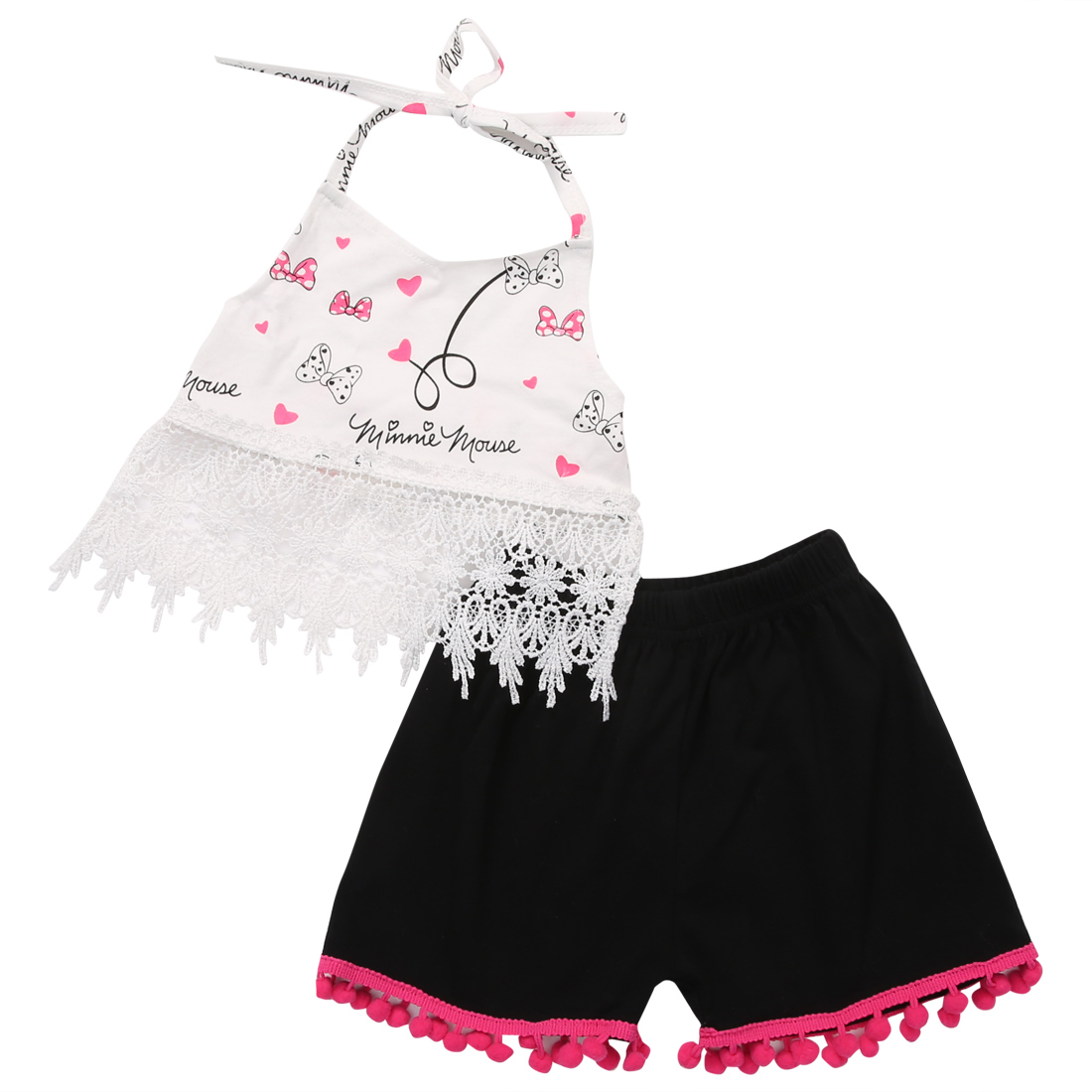 2PCS Newborn Baby Girl Clothes 2017 Summer Lace Crop Top Tanks +Tassel Hot Pant Outfit Kids Girls Clothing Set Bebek Giyim 0-24M 2017 new fashion kids clothes off shoulder camo crop tops hole jean denim pant 2pcs outfit summer suit children clothing set