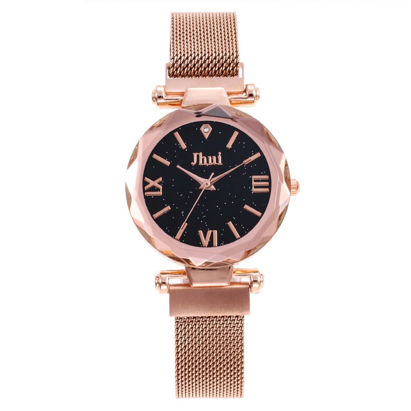 Top Brand Watches For Women Rose Gold Mesh Magnet Buckle Starry Quartz Watch Geometric Surface Casual Women Quartz WristwatchTop Brand Watches For Women Rose Gold Mesh Magnet Buckle Starry Quartz Watch Geometric Surface Casual Women Quartz Wristwatch