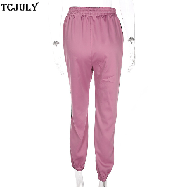 TCJULY 2018 Harajuku Tiger And Dragon Patterns Embroidery Side Striped Pants Women High Waist Ankle Banded Pencil Pants Trousers