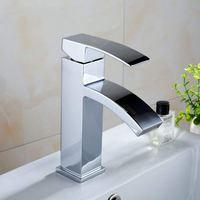 19x10x12cm Alloy Fashion Waterfall Basin Sink Taps Mixer Tap Monobloc Single Handle Faucet Bathroom Silver Drop Shopping