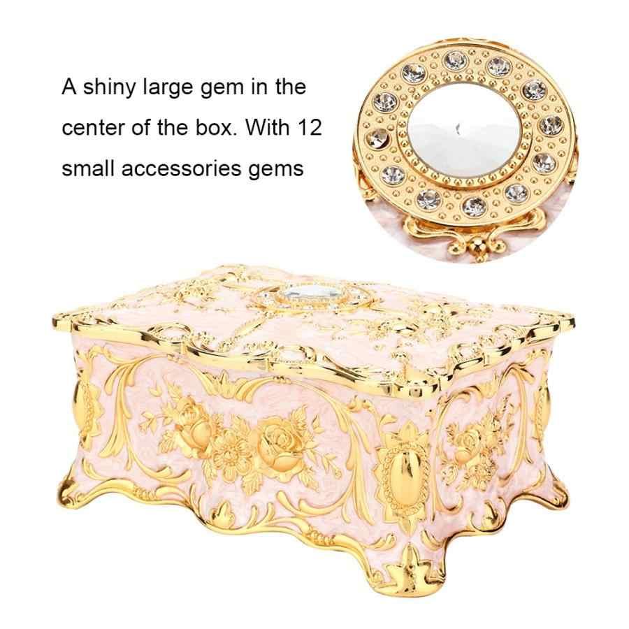 ยุโรปเคลือบโลหะผสมสังกะสีเก็บแหวนต่างหูเครื่องประดับสมบัติกล่องกาวบ้านตกแต่งนาฬิกาของขวัญกล่องนาฬิกา Organizer