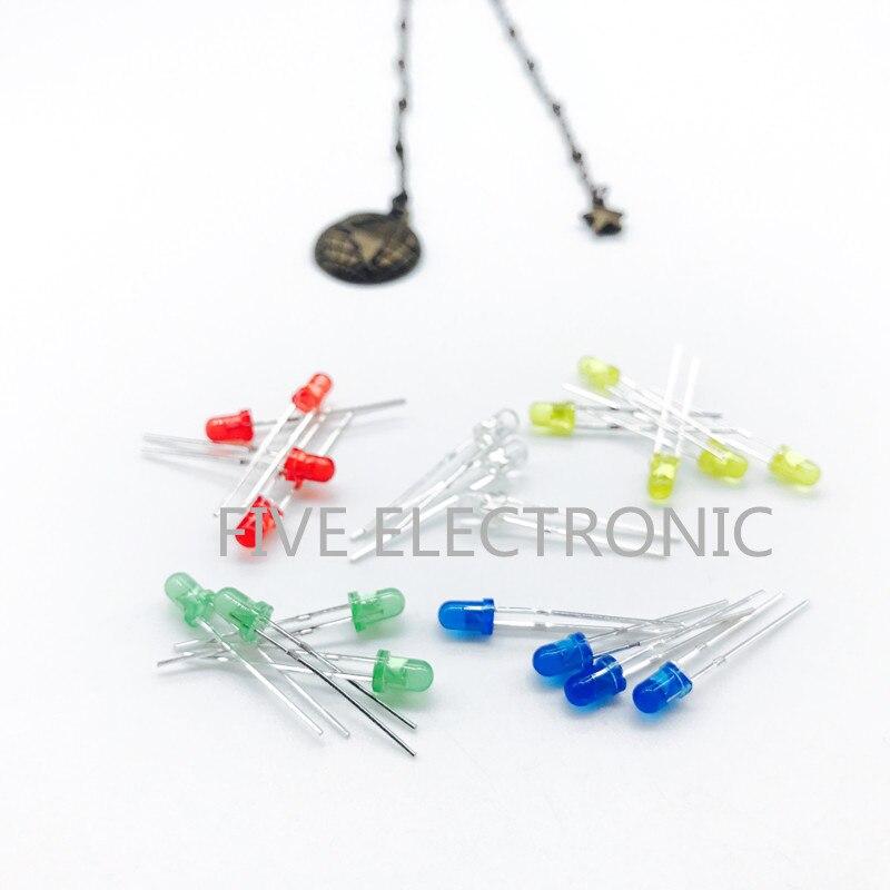 Conjunto de diodos LED de 3 MM, rojo, amarillo, Jade Verde, Azul, Blanco 5 unids/lote