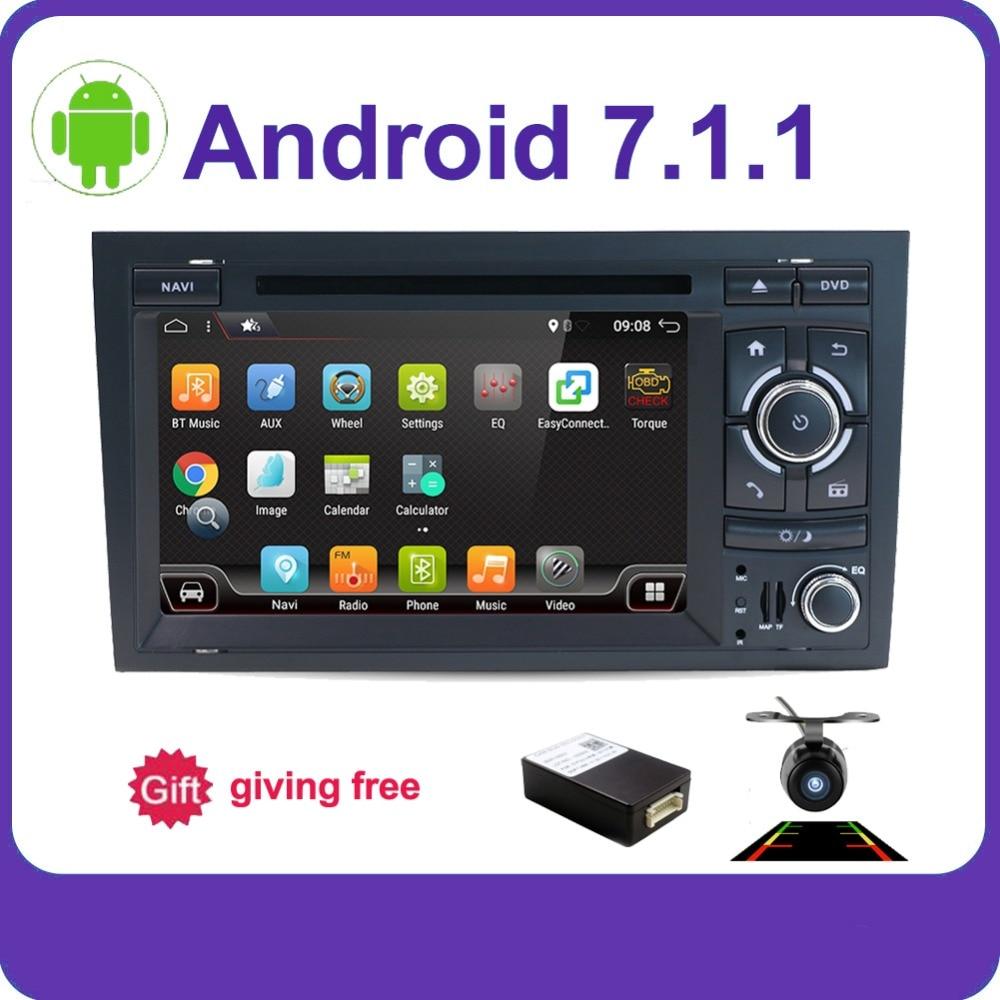 4 Core 2 din Android 7.1 Voiture DVD CD lecteur GPS Navigation pour Audi A4 GPS (2003-2008) audi S4/RS4/8E/8F/B9/B7 Autoradio Stéréo