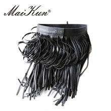 Maikun панк богемский пояс женский ремень западный пояс с длинными кистями пояс для женщин черный кожаный пояс с высокой талией дикий юбки