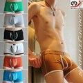2015 nueva wj hombres de moda de ropa interior boxer ropa interior de algodón transpirable 100% u bolsas aberturas bajo la cintura del boxeador