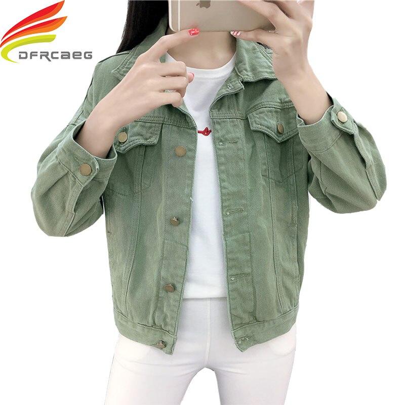 Candy Color Denim Jackets Women 2019 Spring Streetwear Pockets Button Single Breasted Female Jeans Jacket Women Denim Coat