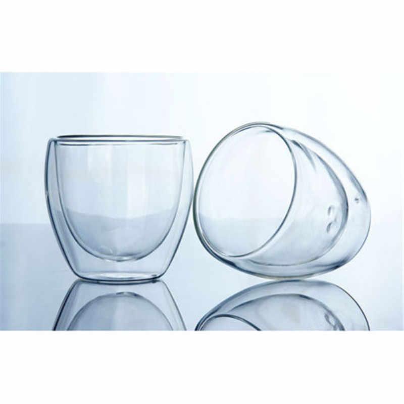 2019 novo e moda clássico 150 ou 250 ou 350 ou 450 ml vidro parede dupla copos de café transparente isolamento chá escritório