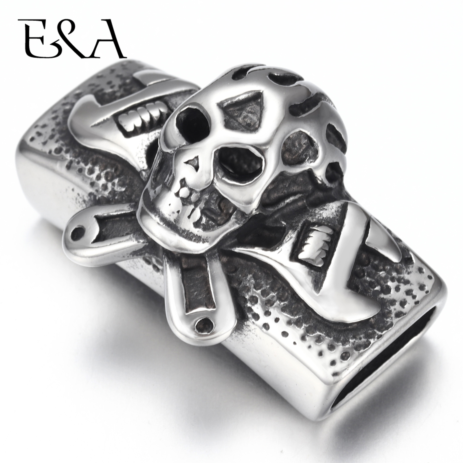 Stainless Steel Slider Beads Punk Motor Skull 12 6mm Hole Slide Charms for Men 39 s Leather Bracelet Jewelry Making DIY Accessories in Beads from Jewelry amp Accessories
