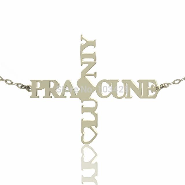 b6e741f34ac Personalizada dos nombre Cruz collar 925 plata esterlina Horizontal Cruz  encanto Dios te bendiga amor Cruz