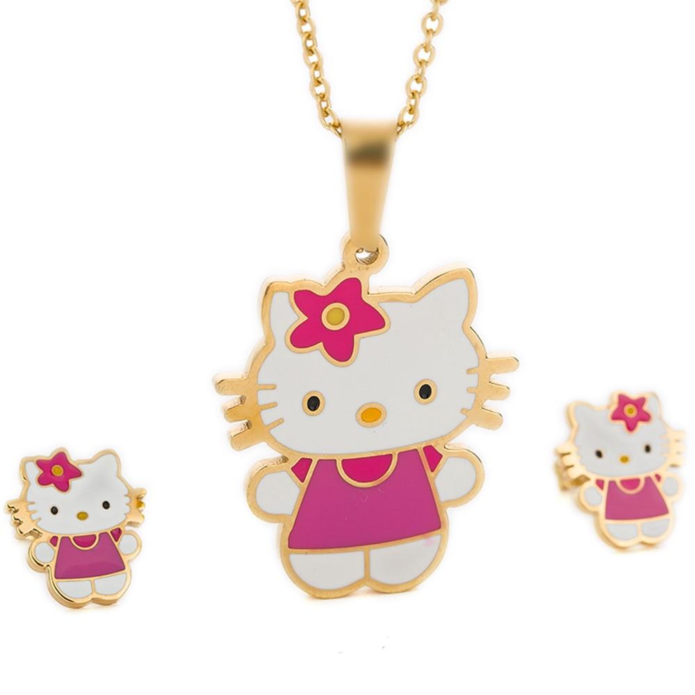 Moda de Aço Inoxidável Multicolor Cat Stud Brincos Brincos Bowknot KT Set Jóias Para Meninas Brinco e Colar Conjunto