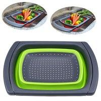 Cozinha Coador De Silicone Dobrável Coador Dobrável cesta de Armazenamento Cesta de Drenagem de Água Em Cima da Pia para Frutas Legumes
