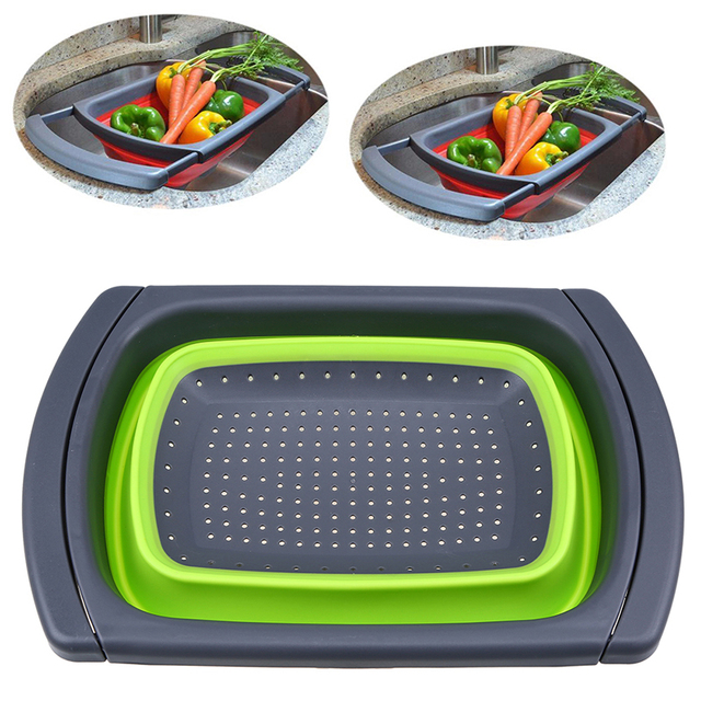 Kitchen Collapsible Silicone Colander Strainer Foldable Water Drainage Over  The Sink Storage Basket For Vegetable Fruits