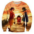 Funny Men 3D Sweatshirt Anime One Piece Monkey D Luffy Roronoa Zoro Sunset Tie Dye Unisex Hoodies Sudaderas Hombre Outerwear